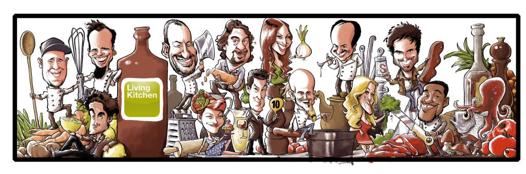 Il caricaturista Daniel Stieglitz ha messo su carta per LivingKitchen i celebrity chef tedeschi e gli assistenti di cucina che saranno presenti nell'area Cooktainment.