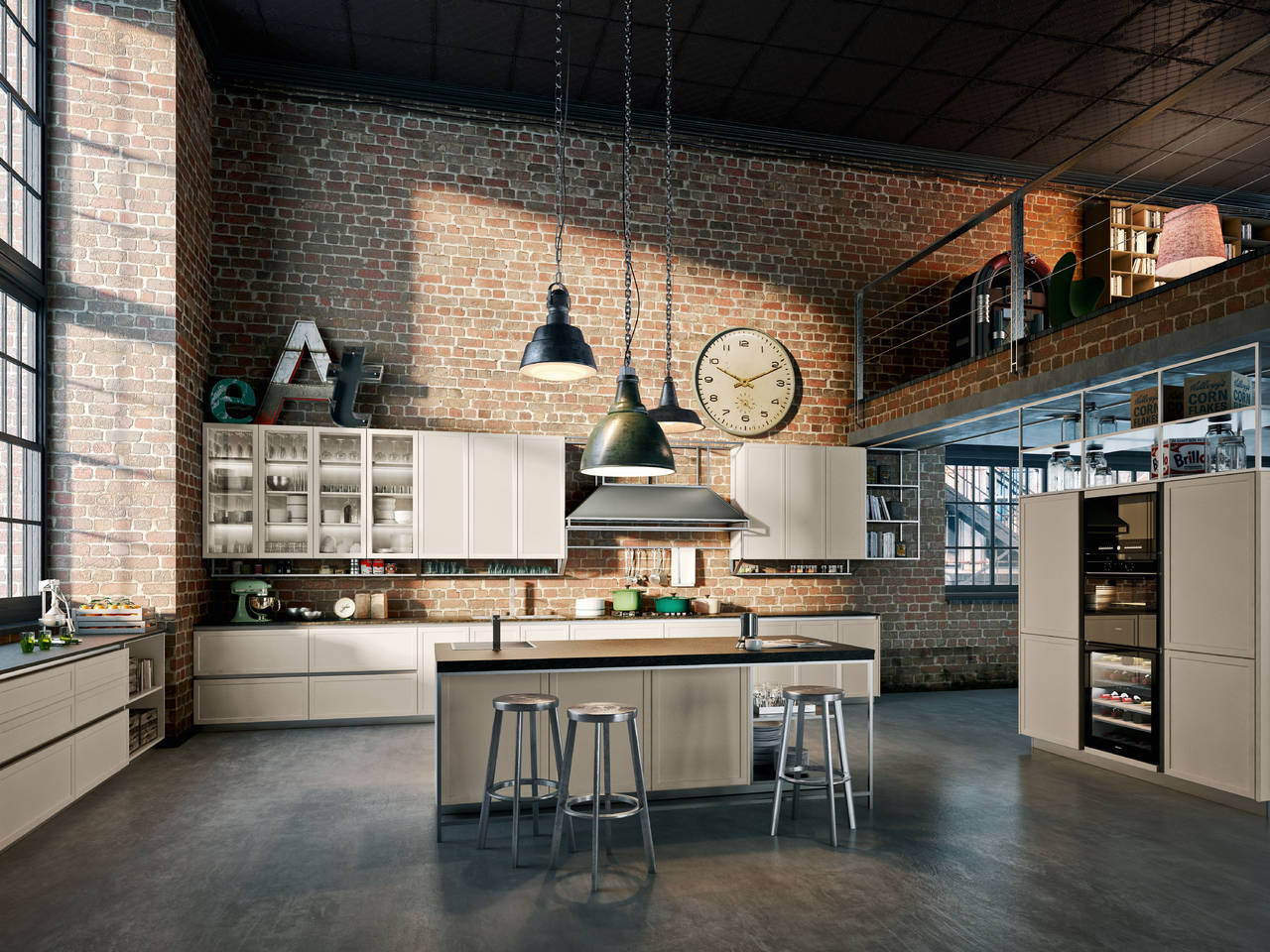 atmosfere industriali per la cucina urbana ambiente cucina. Black Bedroom Furniture Sets. Home Design Ideas