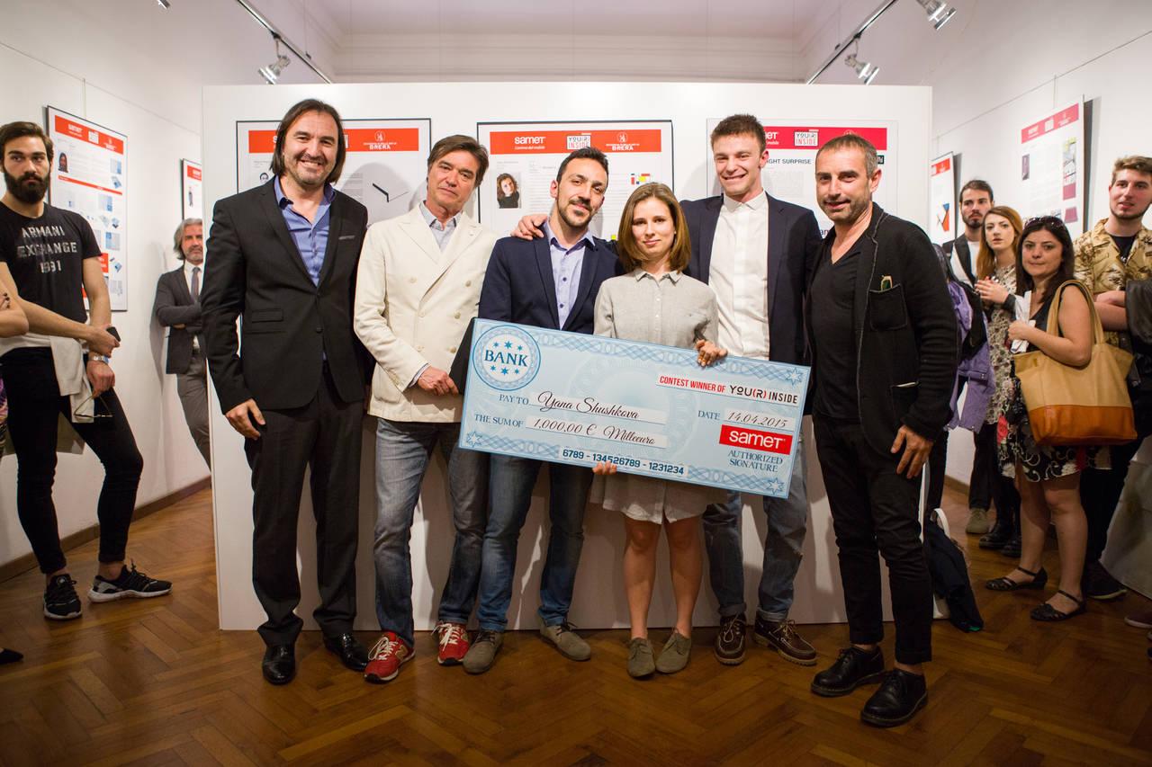 Vincitori del design contest Samet durante il Fuorisalone 2015 - Accademia di Brera, Galleria Ponte Rosso.