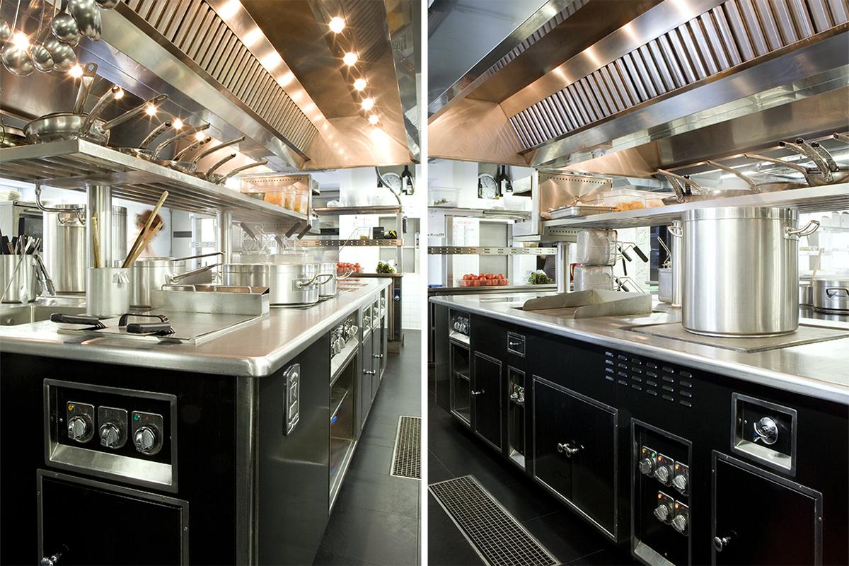 La cucina professionale del ristorante La Mantia di Milano