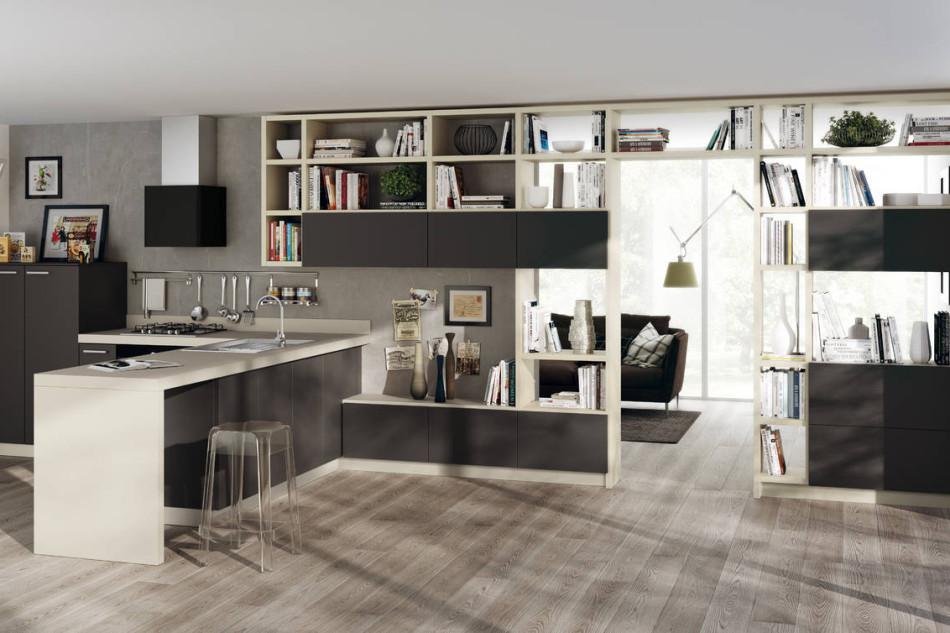 Scavolini interpreta la zona living ambiente cucina for Arredare zona living