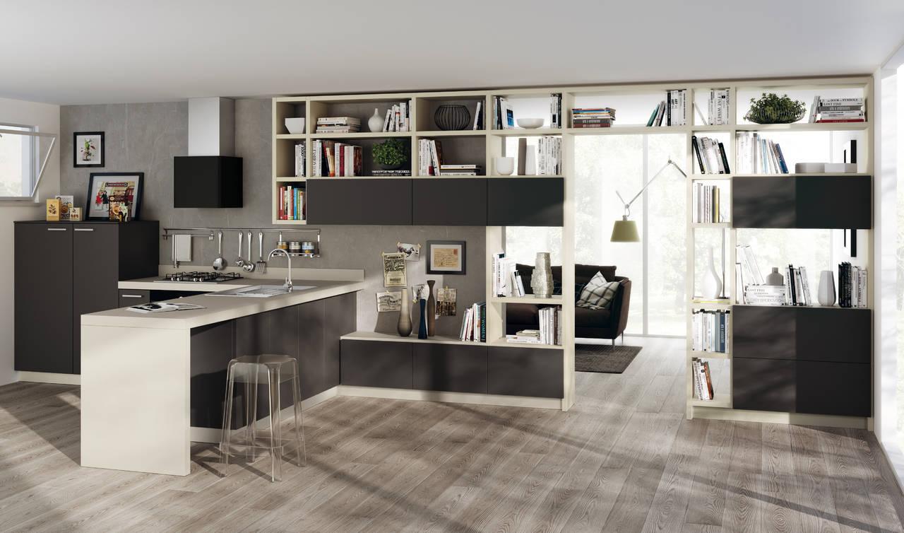 Scavolini Living - modulo integrato tra cucina e zona living. Modello Feel