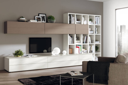 Scavolini interpreta la zona living ambiente cucina for Scavolini pareti attrezzate