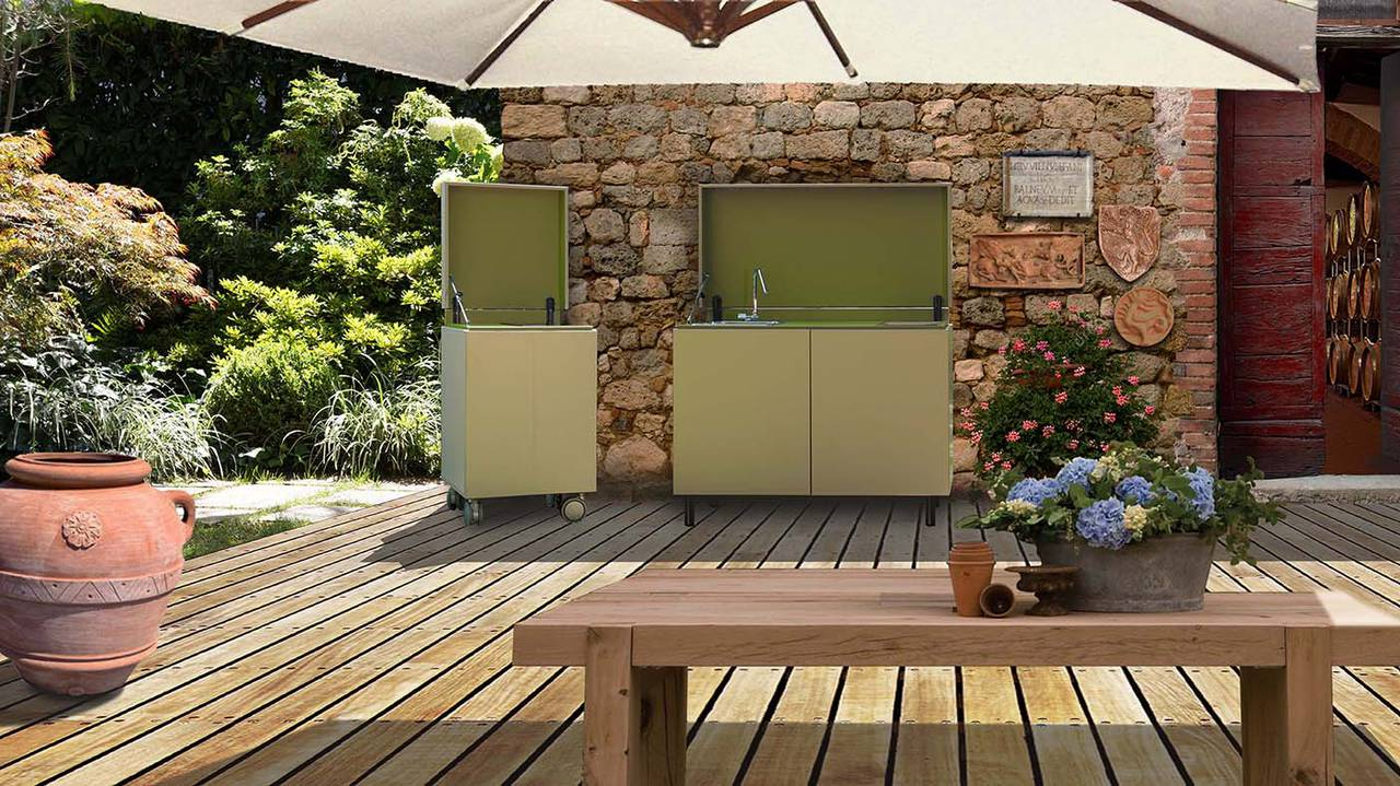 Cucinare e vivere outdoor ambiente cucina - Mobile terrazzo legno ...