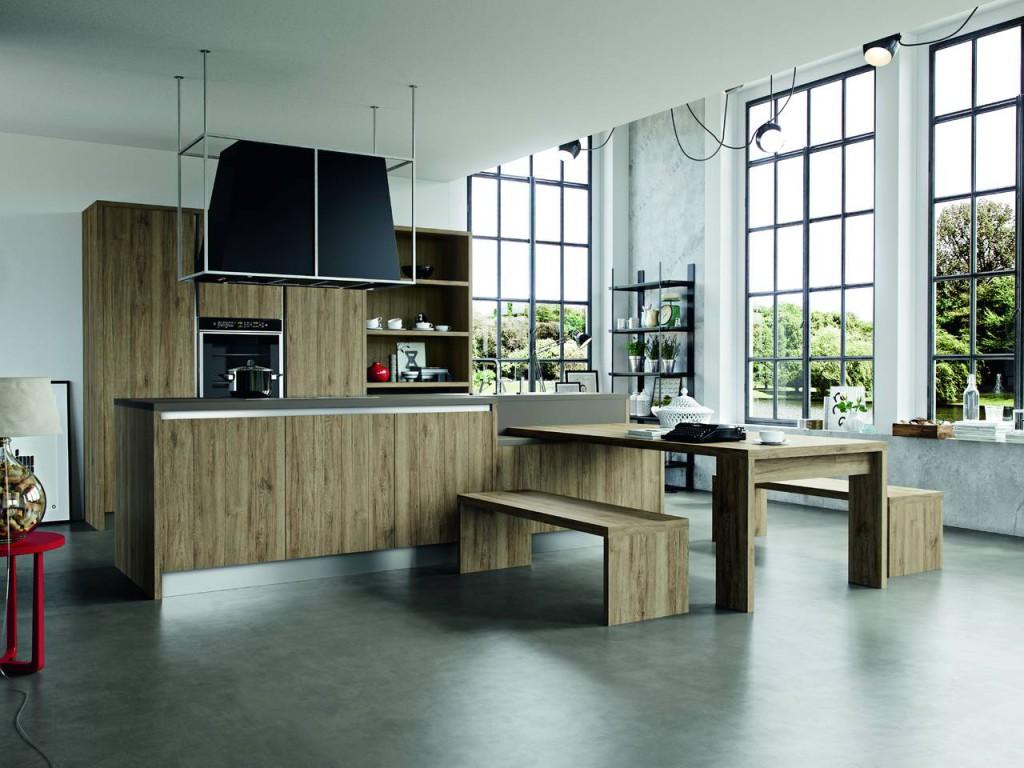 Cucine con finiture effetto legno ambiente cucina - Laminato in cucina ...