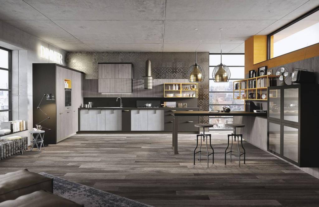 Cucina in laminato effetto legno modello Loft di Snaidero
