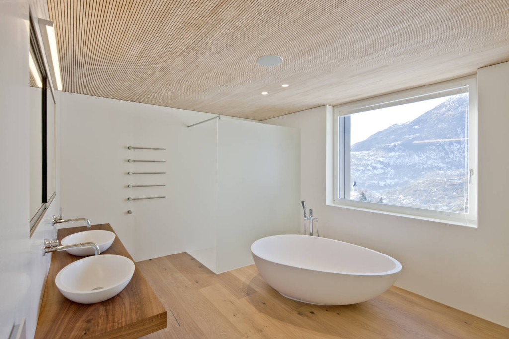 bagno design minimal in hi-macs e legno