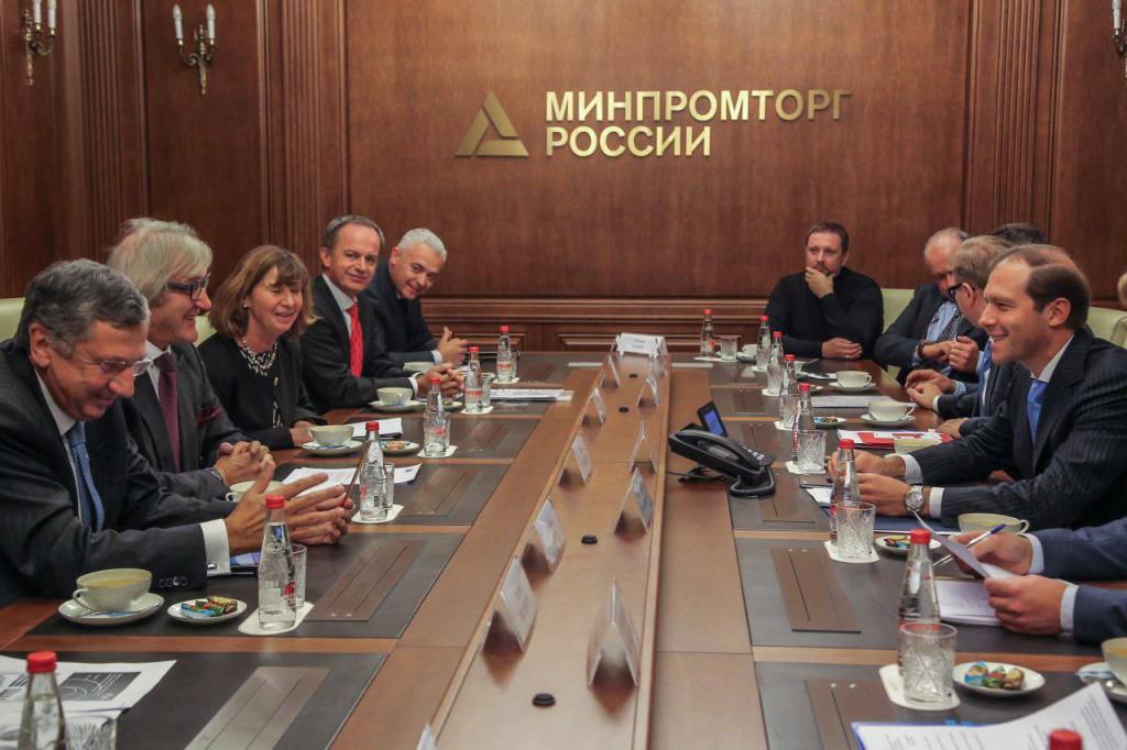 Roberto Snaidero con il ministro russo Manturova 2015 Mosca