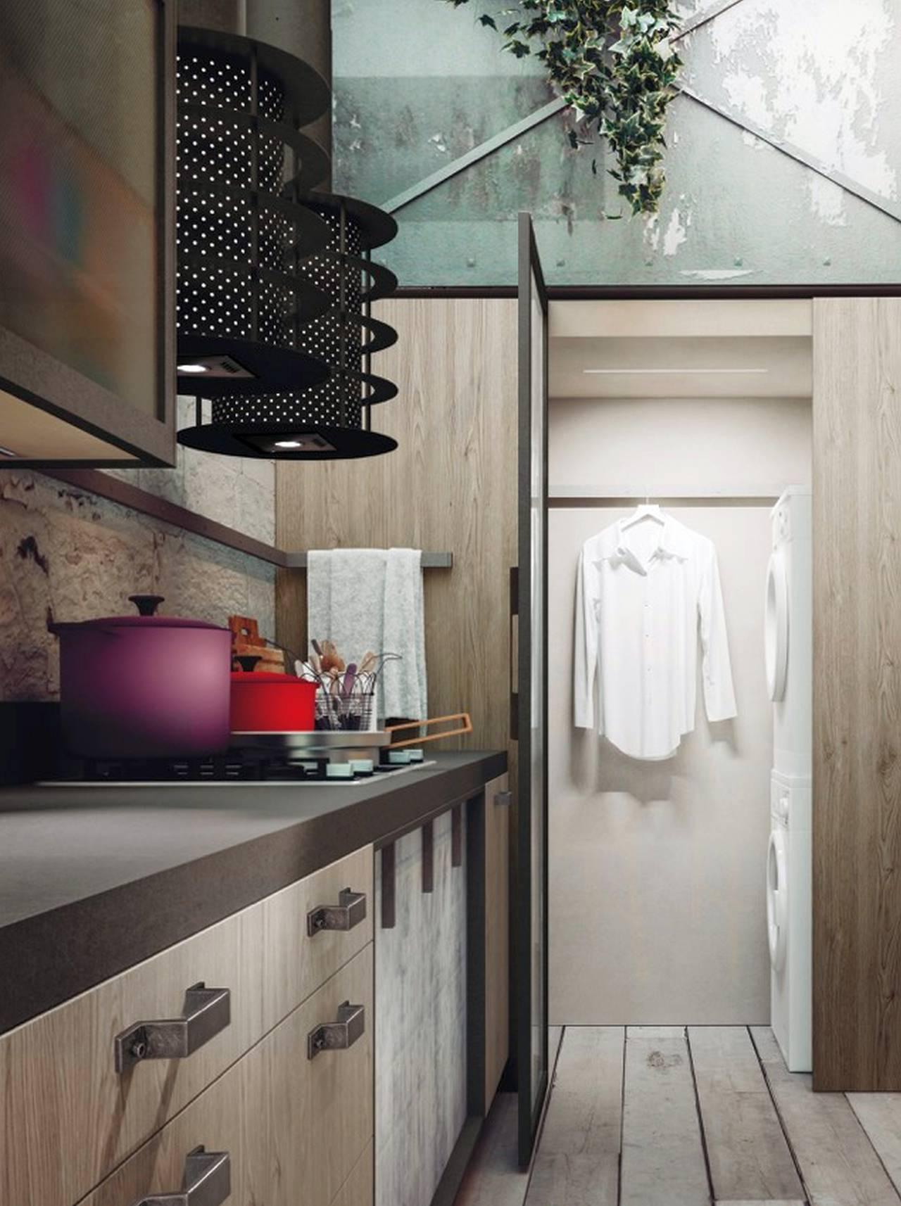 Asciugatrice Dentro Cabina Armadio lavanderia integrata in cucina | ambiente cucina