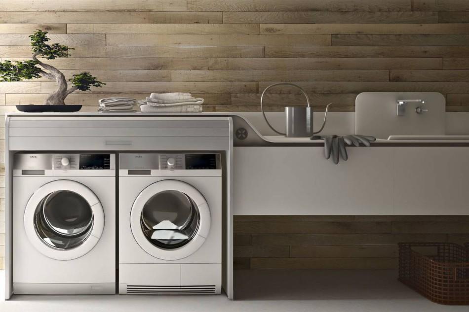 Lavanderia integrata in cucina ambiente cucina - Mobile per lavatrice e asciugatrice ...