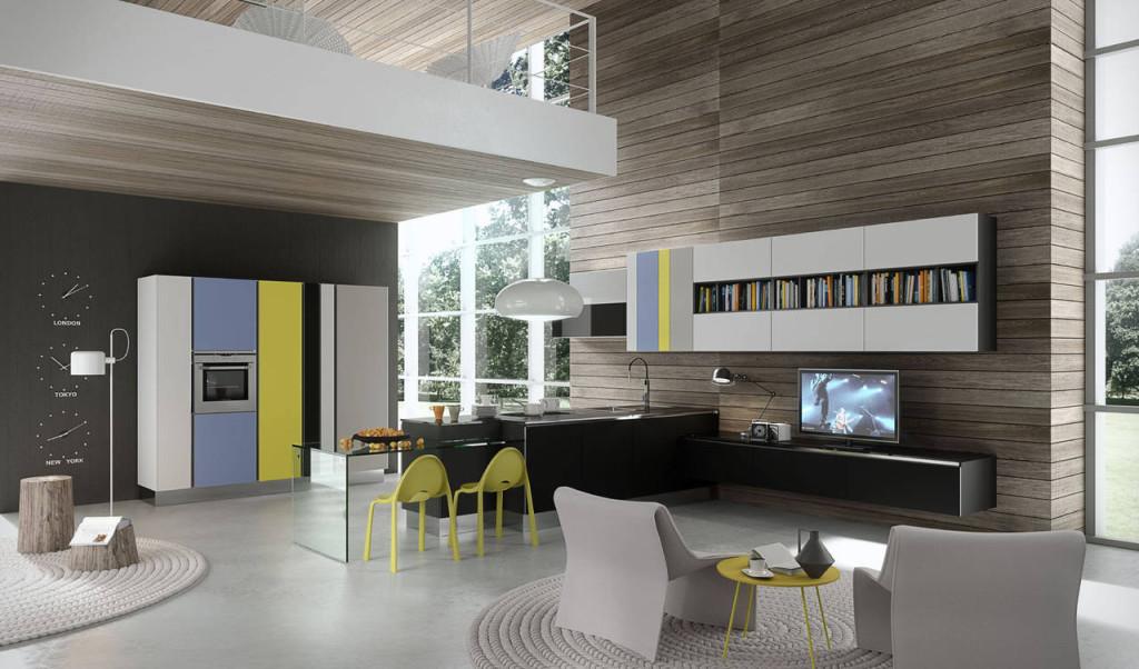 Bianco candido, blu colomba, giallo zolfo e il grigio seta sono le nuance di una delle versioni in vetro opaco di Bijou, proposta da Aran Cucine.