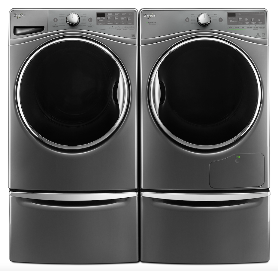 Whirlpool Closet Depth Front Load Washer and HybridCare Dryer