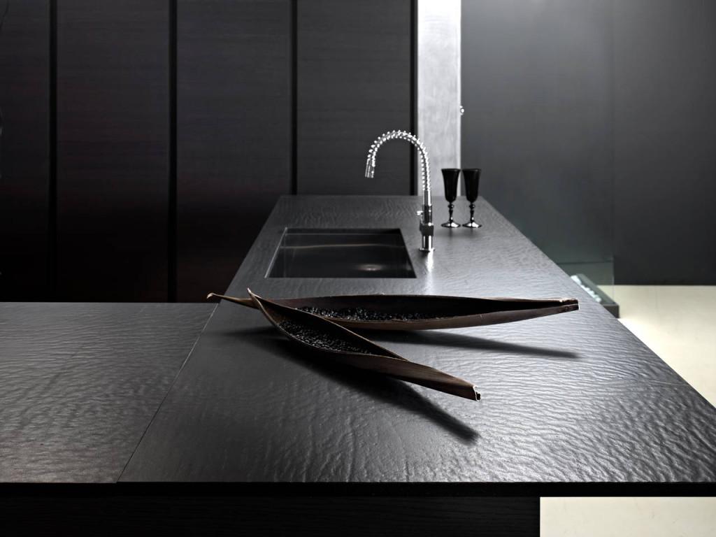 Piano cucina in quarzo total black