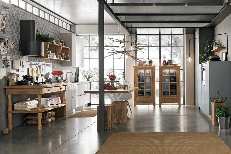 Il legno vissuto dello stile industrial ambiente cucina for Arredamento industriale usato