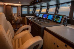 La sala comandi dello Yacht