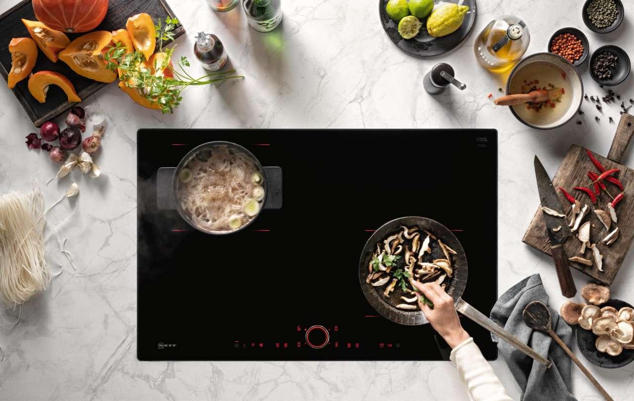 Piano Induzione Neff Flexinduction zone light di neff, luce sull'induzione | ambiente cucina